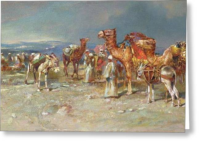 Nomads Greeting Cards - The Arab Caravan   Greeting Card by Italian School