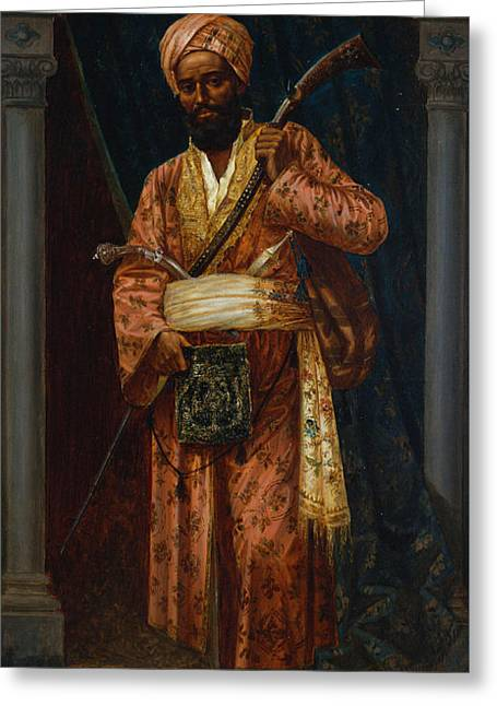 Full-length Portrait Greeting Cards - The Arab Guard Greeting Card by Ludwig Deutsch