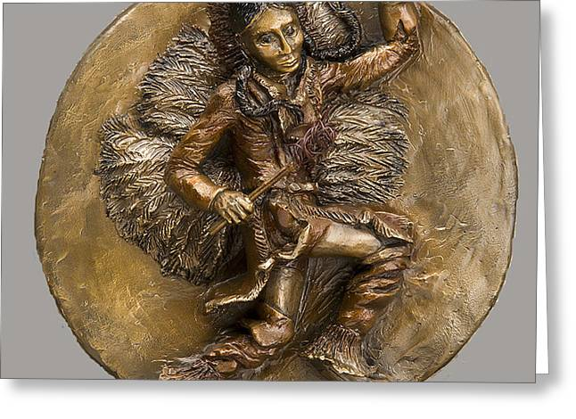 Bronze Reliefs Greeting Cards - The Arapaho Dancer Greeting Card by Dawn Senior-Trask