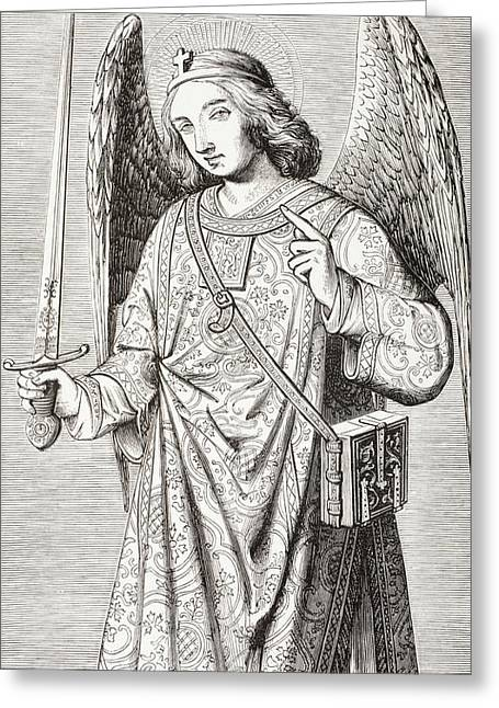 Archangel Drawings Greeting Cards - The Archangel Michael, After A Greeting Card by Vintage Design Pics