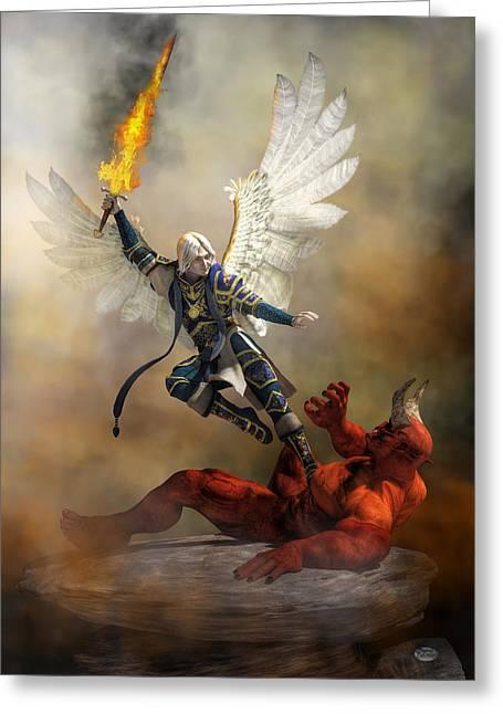 The Archangel Michael Greeting Card by Daniel Eskridge