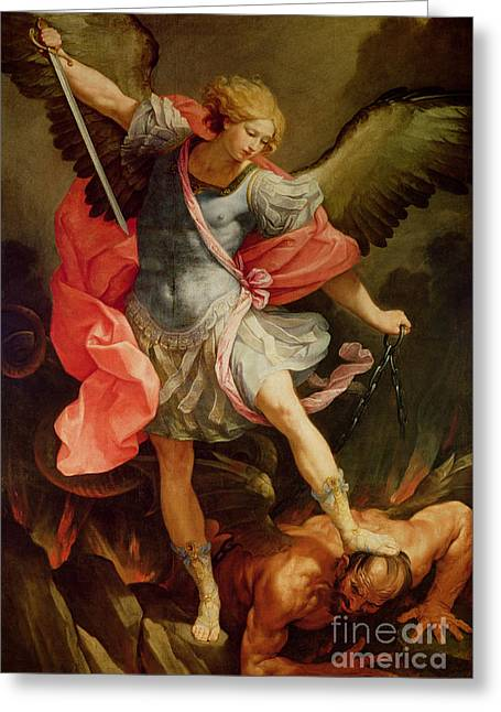 Sword Greeting Cards - The Archangel Michael defeating Satan Greeting Card by Guido Reni
