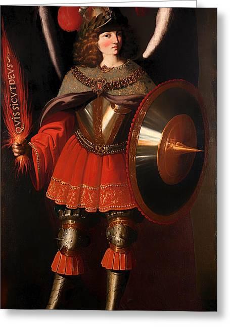 Archangel Greeting Cards - The Archangel Michael Greeting Card by Francisco de Zurban