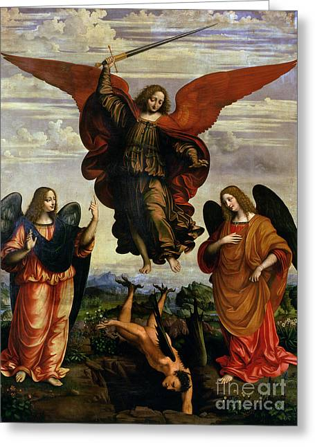 Christian Paintings Greeting Cards - The Archangels triumphing over Lucifer Greeting Card by Marco DOggiono