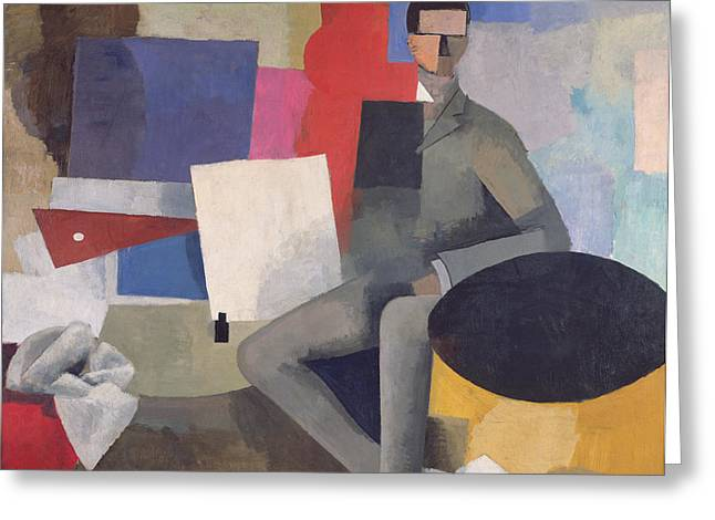 Cubist Paintings Greeting Cards - The Architect Greeting Card by Roger de La Fresnaye