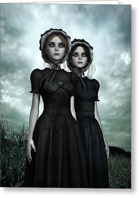 They Are Coming - The Halloween Twins Greeting Card by Britta Glodde
