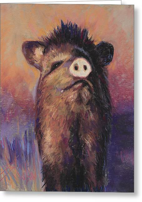 Pigs Pastels Greeting Cards - The Aristocrat Greeting Card by Billie Colson
