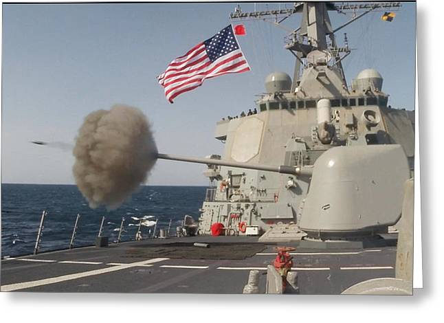 First-class Mixed Media Greeting Cards - The Arleigh-burke class guided-missile destroyer USS Curtis Wilbur Greeting Card by Celestial Images