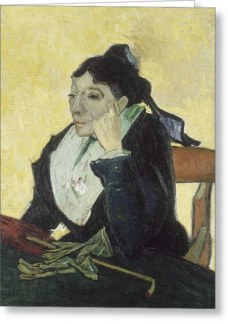 Portrait Of Woman Greeting Cards - The Arlesienne Greeting Card by Vincent van Gogh