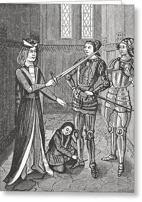 Knighthood Drawings Greeting Cards - The Arming Of A Knight After The Greeting Card by Ken Welsh