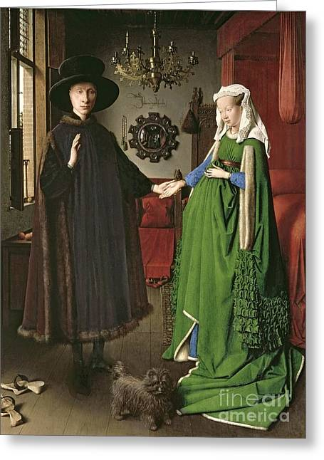 Mirrored Greeting Cards - The Arnolfini Marriage Greeting Card by Jan van Eyck