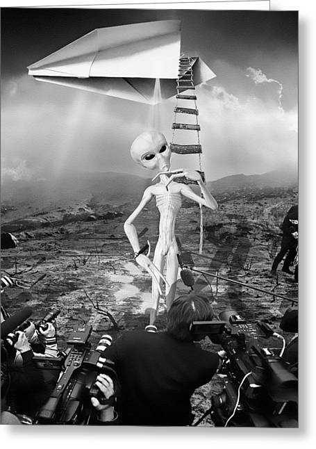 The Arrival Black And White Greeting Card by Marian Voicu