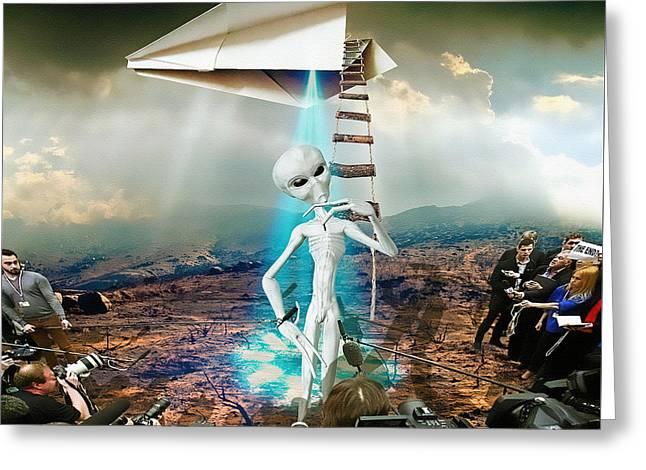 Digital Manipulation Greeting Cards - The Arrival Greeting Card by Marian Voicu