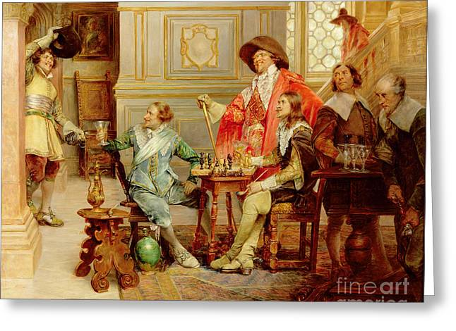 Chess Greeting Cards - The Arrival of DArtagnan Greeting Card by Alex de Andreis