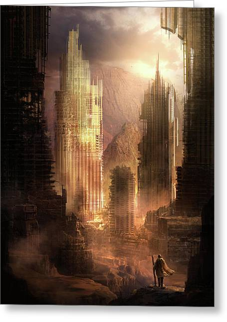 Futuristic Greeting Cards - The Arrival Greeting Card by Philip Straub