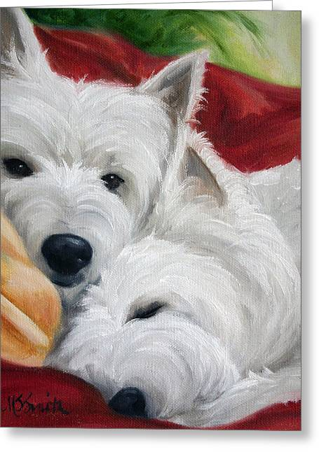 Mssmith Greeting Cards - The Art of Snuggling Greeting Card by Mary Sparrow
