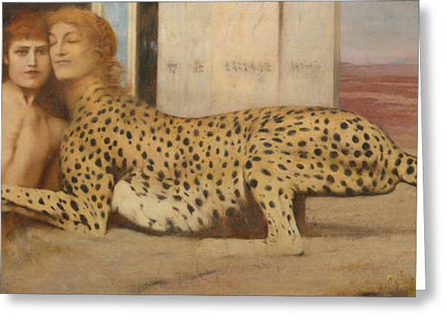 Leopard Drawings Greeting Cards - The art or kjrteikna Greeting Card by Fernand Khnopff