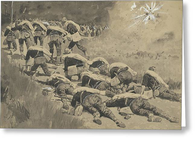 The Artful Dodgers  Shrapnel Coming Down The Road Greeting Card by Frederic Remington
