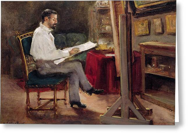 Atelier Greeting Cards - The Artist Morot in his Studio Greeting Card by Gustave Caillebotte