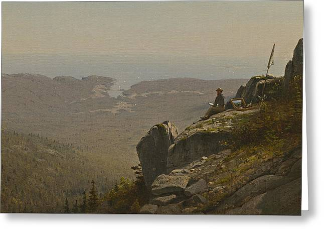 Artist At Work Greeting Cards - The Artist Sketching at Mount Desert Greeting Card by Sanford Robinson Gifford