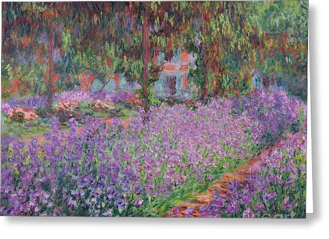 Purple Flower Greeting Cards - The Artists Garden at Giverny Greeting Card by Claude Monet