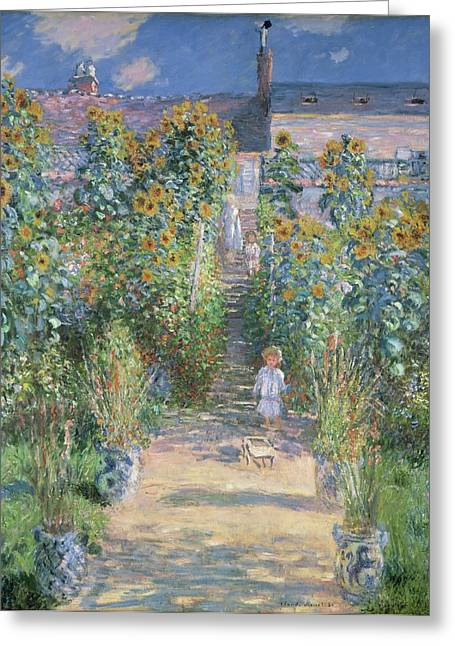 Vetheuil Greeting Cards - The Artists Garden at Vetheuil Greeting Card by Claude Monet
