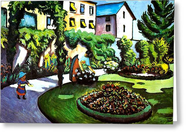 Macke Greeting Cards - The Artists Garden in Bonn Greeting Card by August Macke
