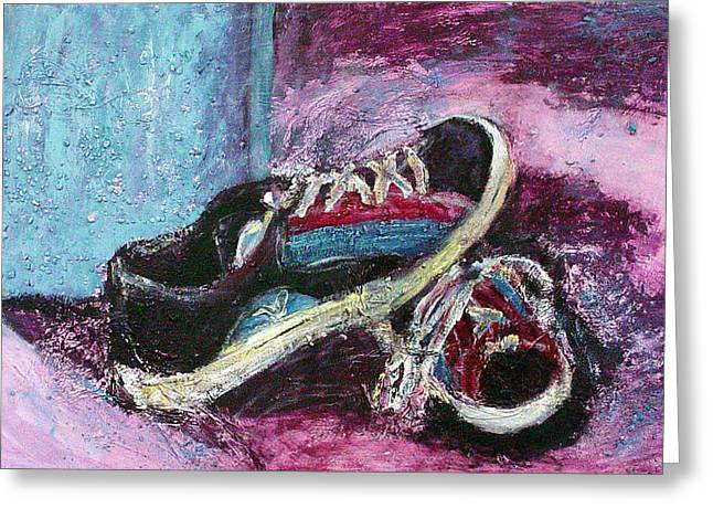 Tennis Shoes Greeting Cards - The Artists Shoes Greeting Card by Sarah Crumpler