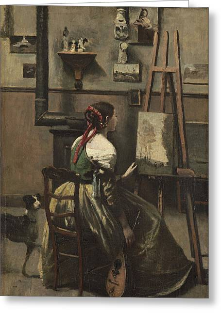 Jean-baptiste Art Greeting Cards - The Artists Studio Greeting Card by Jean-baptiste-camille Corot