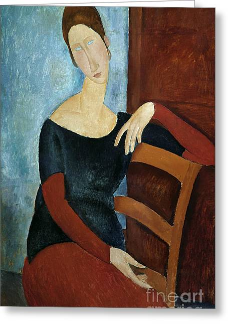 Hebuterne Greeting Cards - The Artists Wife Greeting Card by Amedeo Modigliani