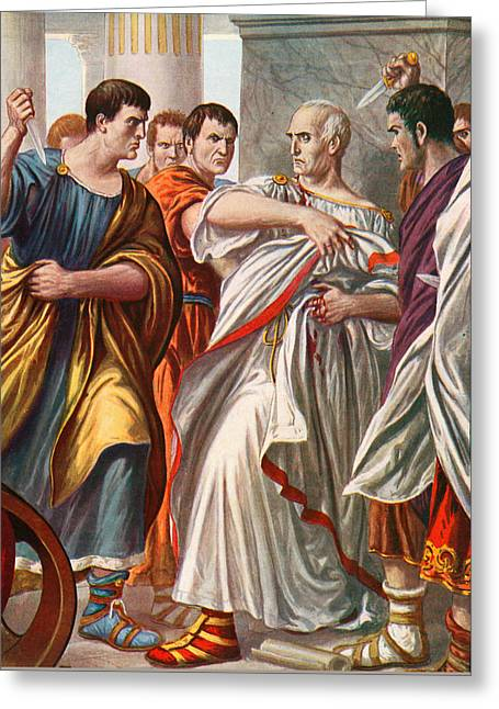 The Assassination Of Julius Caesar Greeting Card by Tancredi Scarpelli