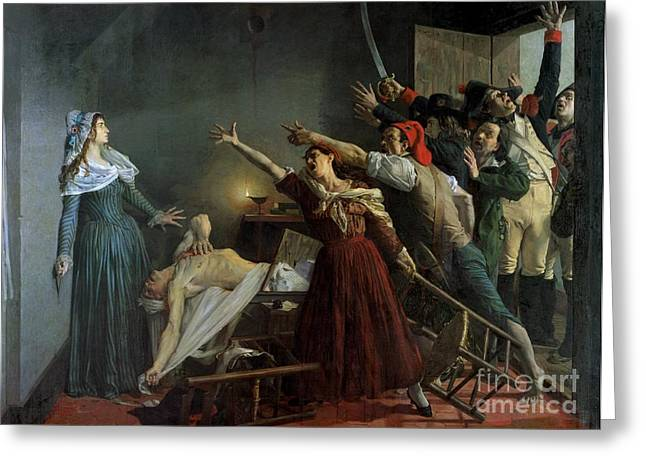 Charlotte Greeting Cards - The Assassination of Marat Greeting Card by Jean Joseph Weerts