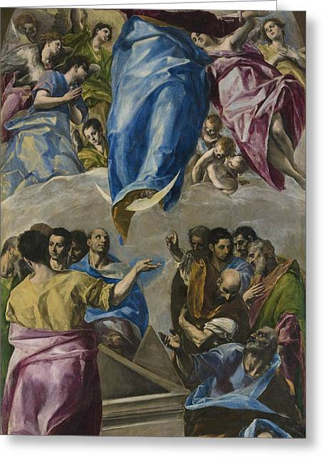 The Assumption Of The Virgin Greeting Card by El Greco