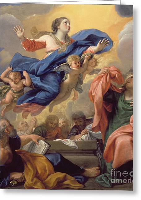 1628 Greeting Cards - The Assumption of the Virgin Greeting Card by Guillaume Courtois