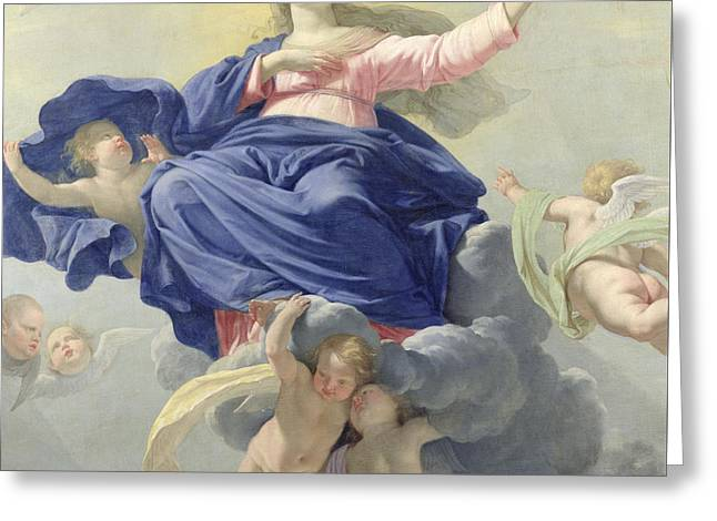 The Assumption Of The Virgin Greeting Card by Philippe de Champaigne