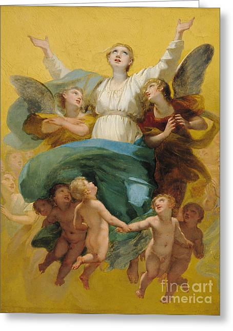 Flying Angel Greeting Cards - The Assumption of the Virgin Greeting Card by Pierre Paul Prudhon