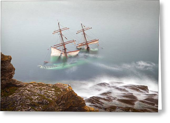 Tall Ships Greeting Cards - The Astrid Goes Aground Greeting Card by Alan Mahon