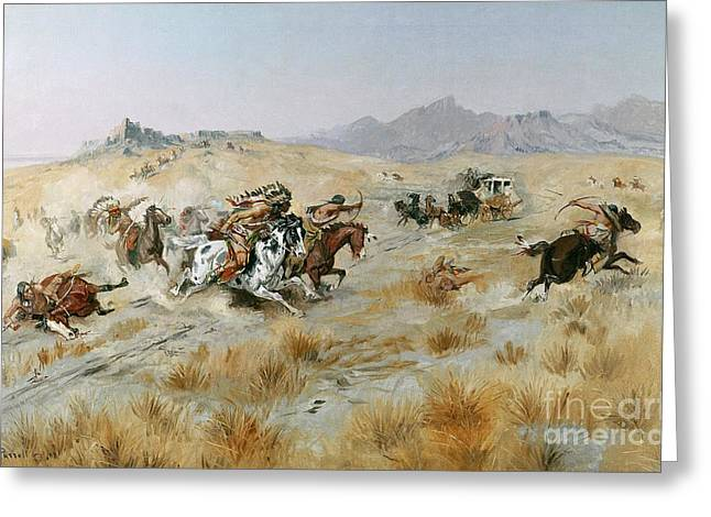 Wild Horses Greeting Cards - The Attack Greeting Card by Charles Marion Russell