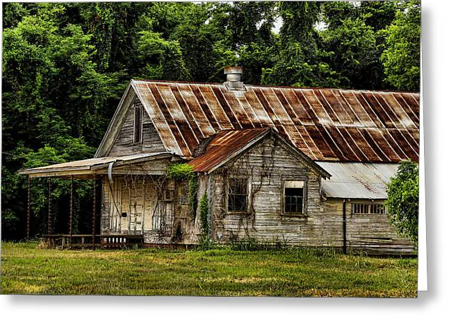 Tin Roof Greeting Cards - The Auger Building Greeting Card by Judy Vincent