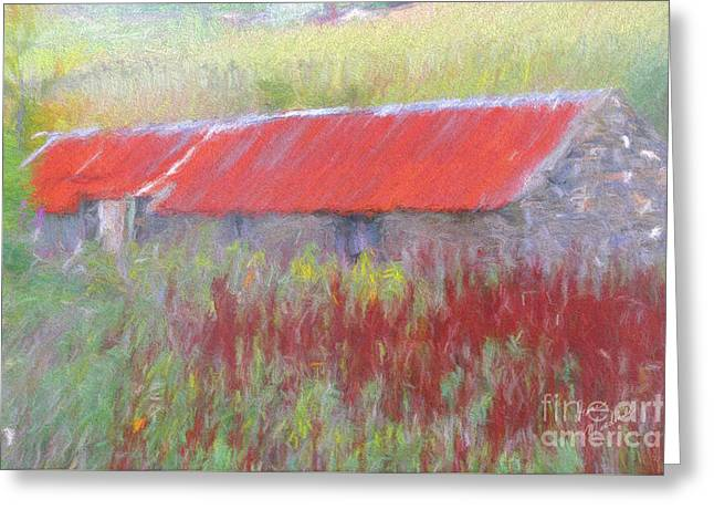 Red Roofed Barn Greeting Cards - The Auld Byre Greeting Card by Diane Macdonald