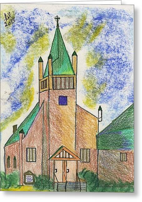 Aura Drawings Greeting Cards - The Aura of Gods House Greeting Card by Lill Curth