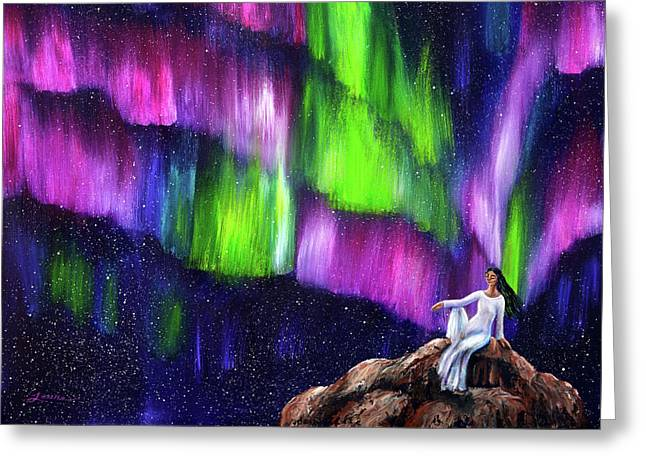 The Aurora Of Compassion Greeting Card by Laura Iverson