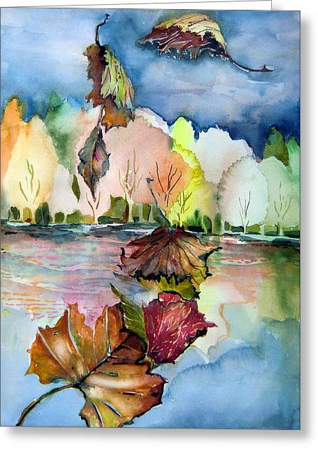 Autumn Drawings Greeting Cards - The Autumn Leaves Drift By My Window Greeting Card by Mindy Newman