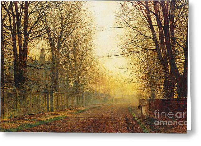 The Autumn's Golden Glory Greeting Card by John Atkinson Grimshaw