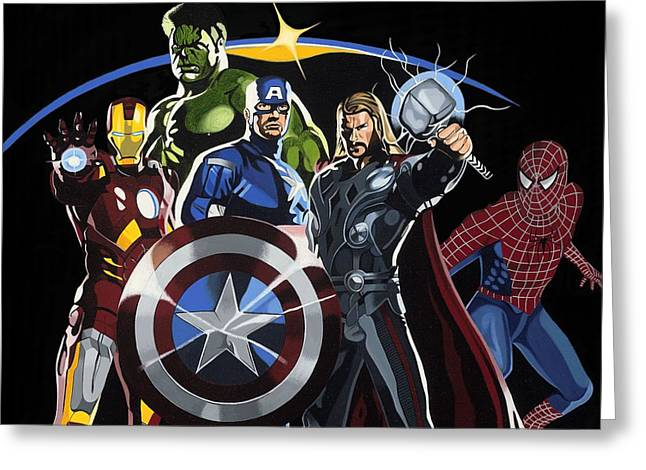 Man Greeting Cards - The Avengers Greeting Card by Darrell Hopkins