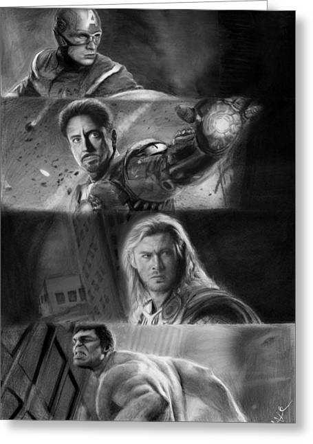 Chris Evan Greeting Cards - The Avengers Greeting Card by Nat Morley