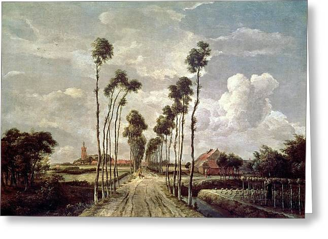 Orchard Greeting Cards - The Avenue at Middelharnis Greeting Card by Meindert Hobbema