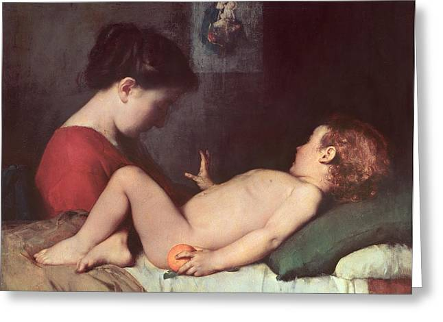 Christ Pictures Greeting Cards - The Awakening Child Greeting Card by Jean Jacques Henner