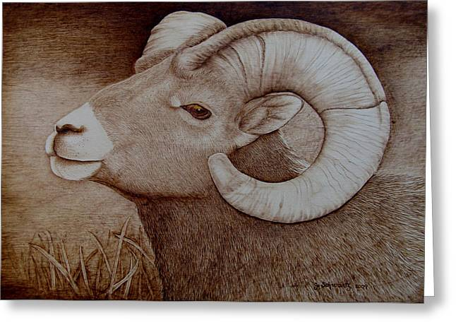 Horns Pyrography Greeting Cards - The Bachelor Greeting Card by Jo Schwartz