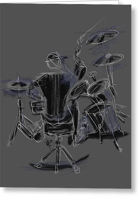 Drum Kit Greeting Cards - The Back Beat Greeting Card by Russell Pierce